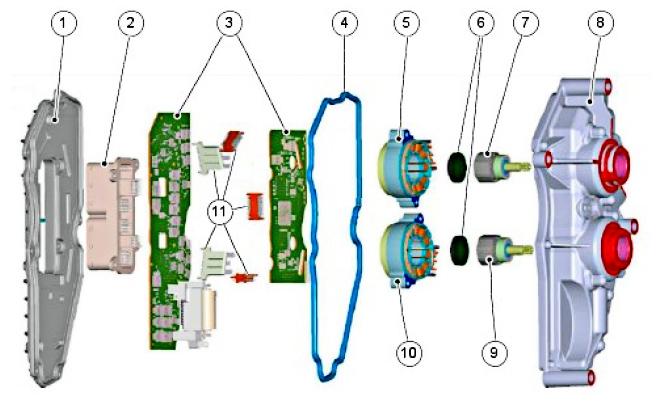 Составные части электронного блока управления TCM PowerShift